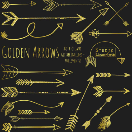 Gold tribal arrow clipart vector freeuse library Untitled — Gold Arrow Clipart - Golden Glitter / Foil Clip... vector freeuse library