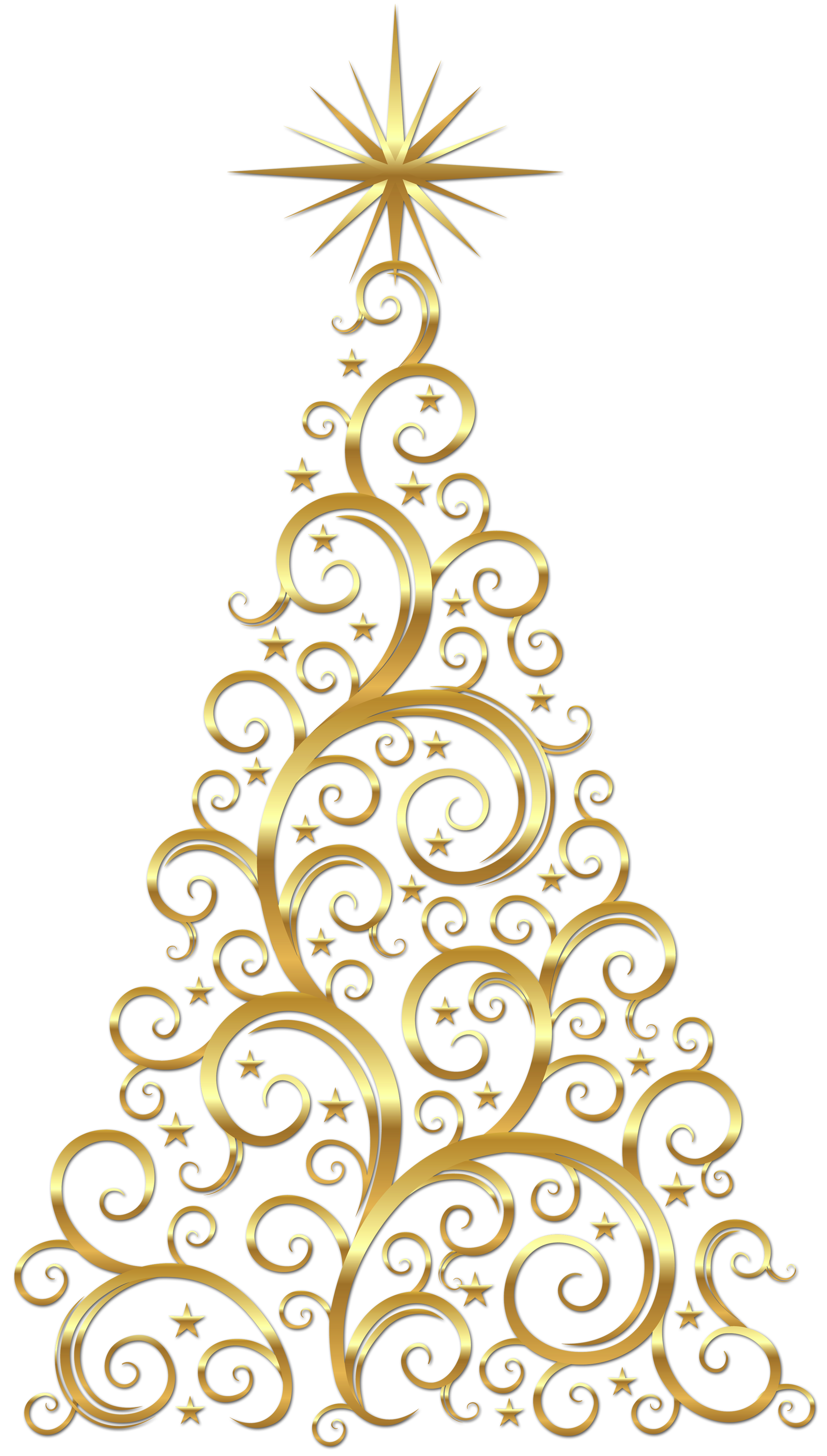 Golden christmas tree clipart clipart black and white stock Transparent Gold Deco Christmas Tree Clipart | Gallery Yopriceville ... clipart black and white stock