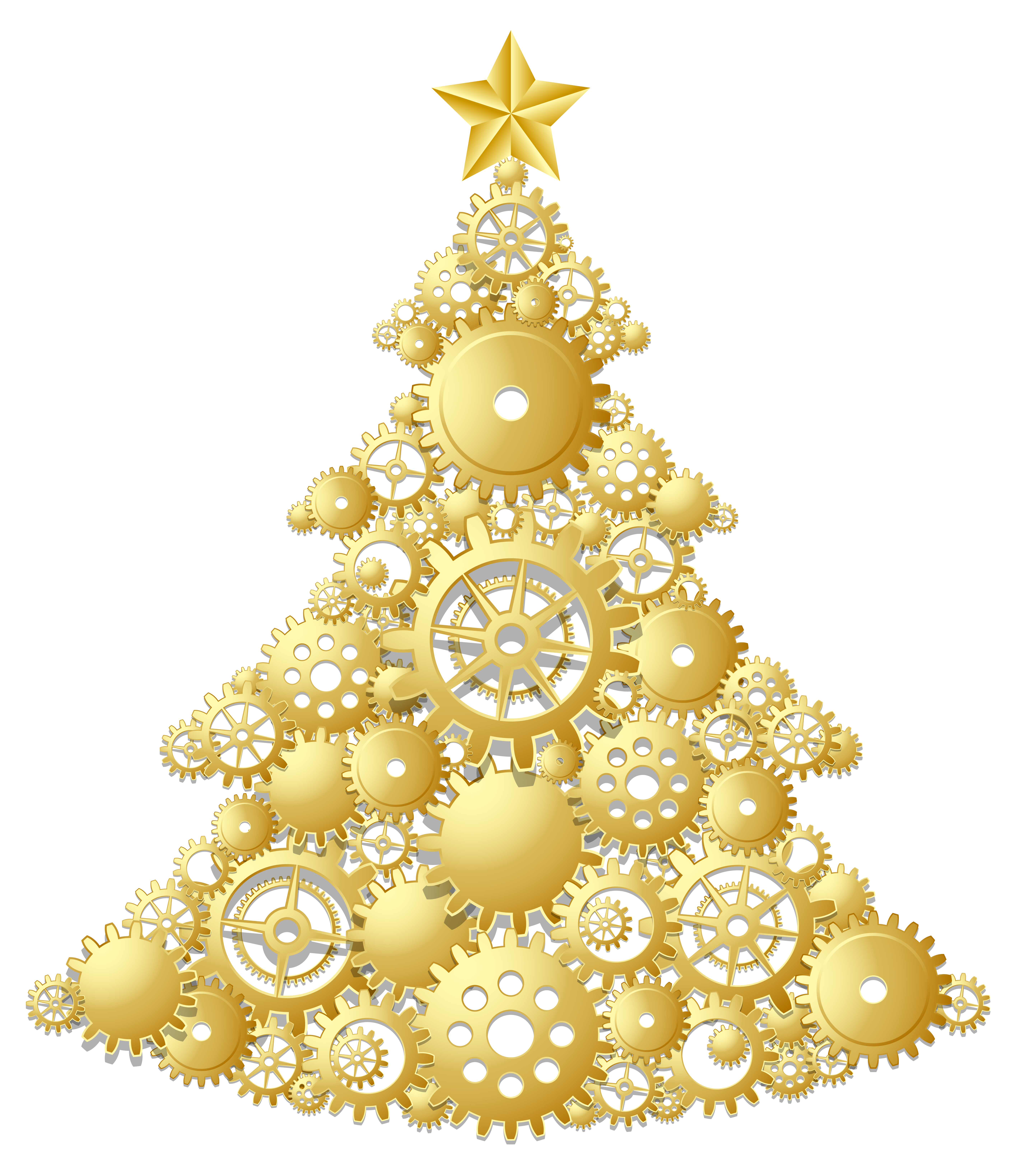 Golden christmas tree clipart graphic stock Gold Steampunk Christmas Tree PNG Clipart | Gallery Yopriceville ... graphic stock