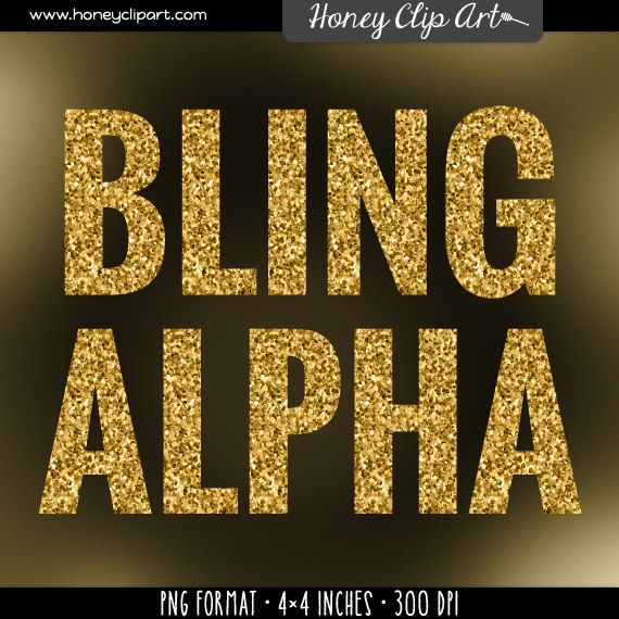 Gold Digital Glitter Alphabet - Golden Glitter Letters - Gold Bling ... clipart transparent library