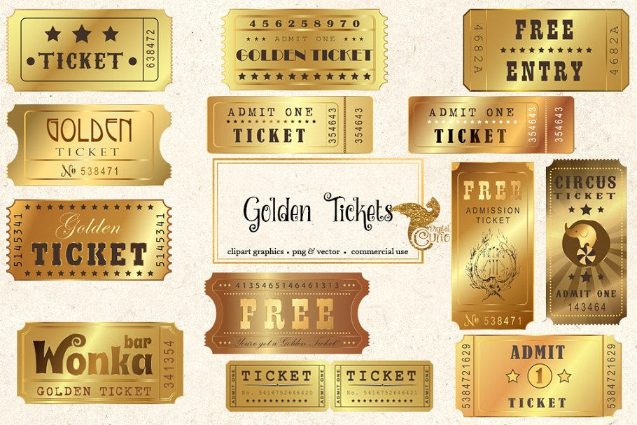 Golden ticket clipart graphic library stock Golden Tickets Vector Clipart graphic library stock