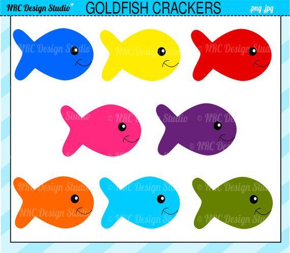Cute Fish Clip Art - Goldfish Crackers Clip Art - Digital Fish ... png transparent library