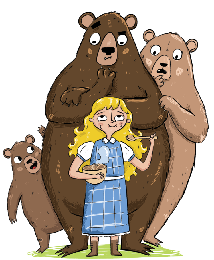 Goldilocks and porridge in her hair free clipart vector free stock Goldilocks and the Three Bears | Fairy tale illustrations in 2019 ... vector free stock
