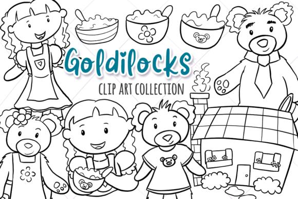 Goldilocks Three Bears (Black and White) clipart black and white