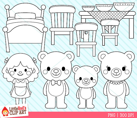 Goldilocks and the Three Bears Clip Art and Digital Stamps ... clip art freeuse