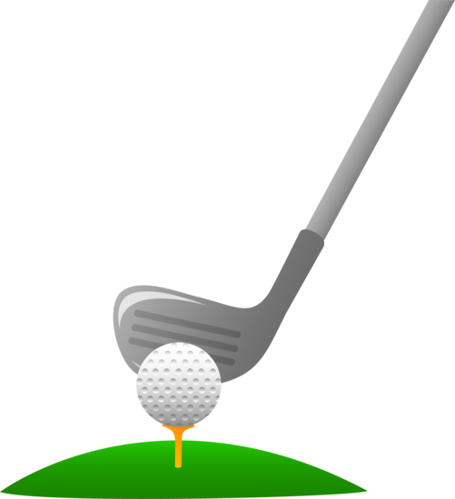 Golf ball on tee with club clipart