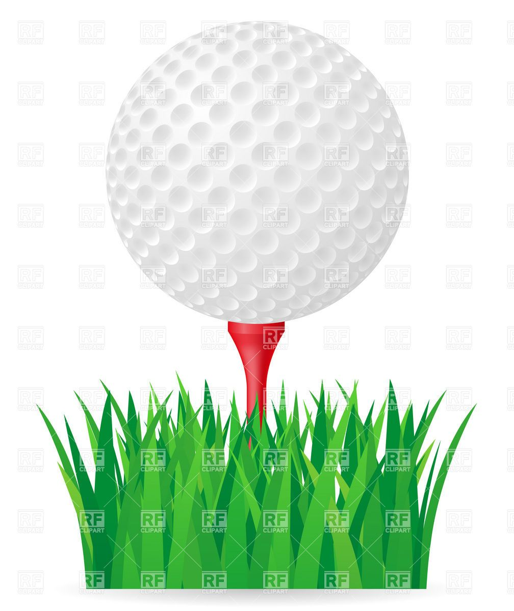 Golf ball on tee with club clipart graphic black and white download Golf ball on tee and green grass Vector Image – Vector illustration ... graphic black and white download