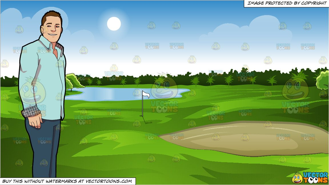 Golf green clipart vector black and white library A Cool And Collected Guy and Green Golf Course Background vector black and white library