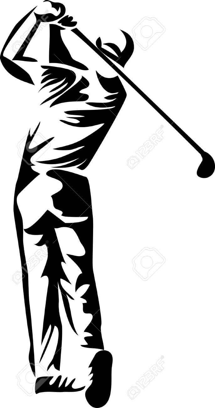 Golfer Logo Clipart Player Golf - Clipart1001 - Free Cliparts svg black and white download