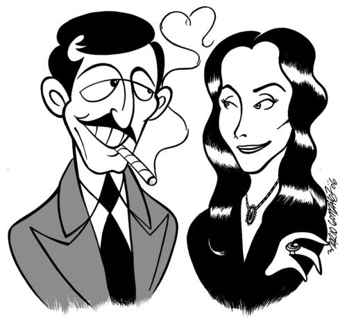 Gomez addams clipart banner black and white stock Gomez and Morticia Addams from The Addams Family | Addams Family ... banner black and white stock