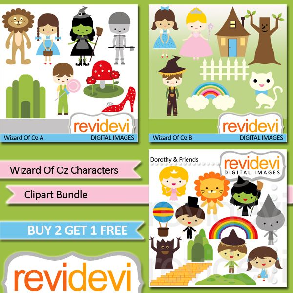 Good character clipart clip transparent library Wizard Of Oz Characters Clipart Bundle - This bundle includes 3 ... clip transparent library