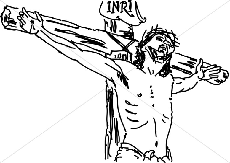 Good friday clipart black and white picture transparent Line Drawn Christ on INRI Cross | Good Friday Clipart picture transparent