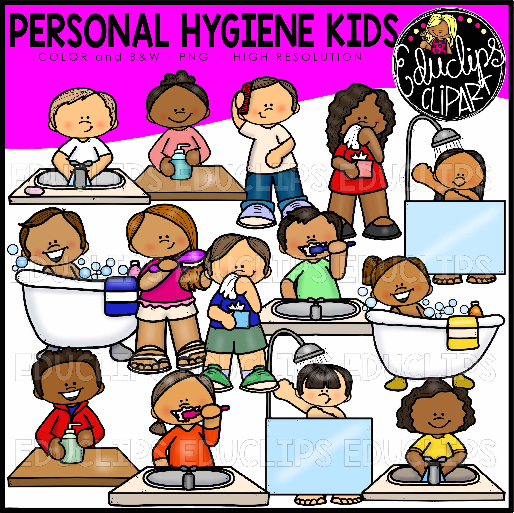 Good hygiene clipart vector free download Personal Hygiene Kids Clip Art Set vector free download