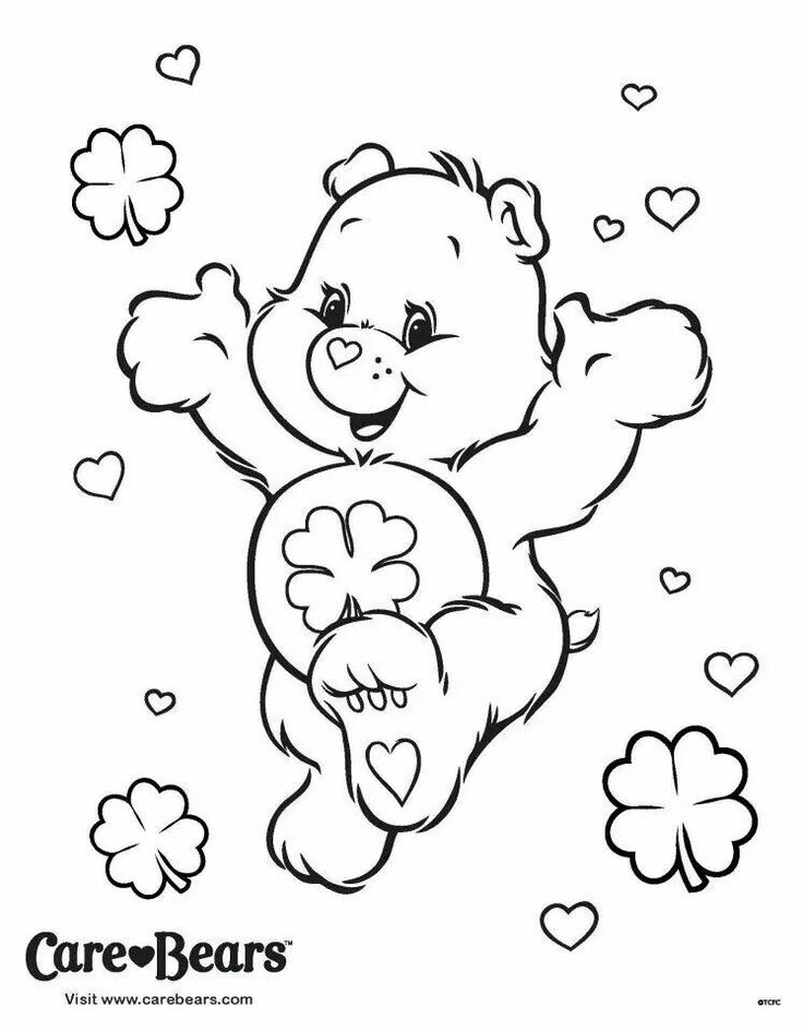 Good luck bear clipart black and white image royalty free library Good Luck Bear Coloring Pages image royalty free library