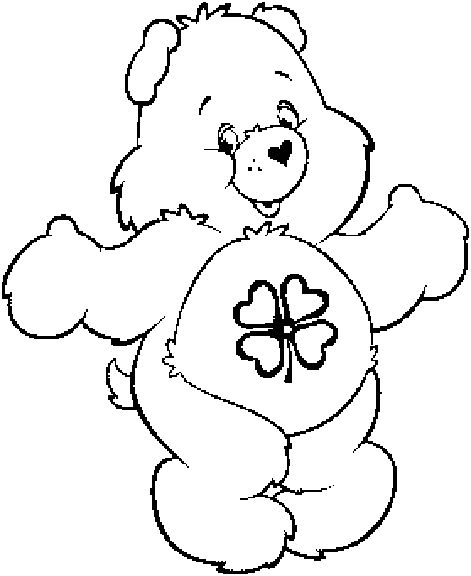 Good luck bear clipart black and white png library download Good Luck Bear Coloring Pages png library download
