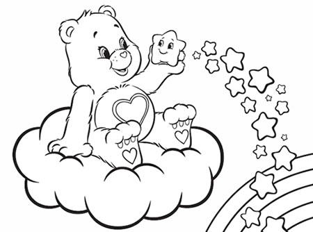 Good luck bear clipart black and white clip art black and white library Good Luck Bear Coloring Pages clip art black and white library