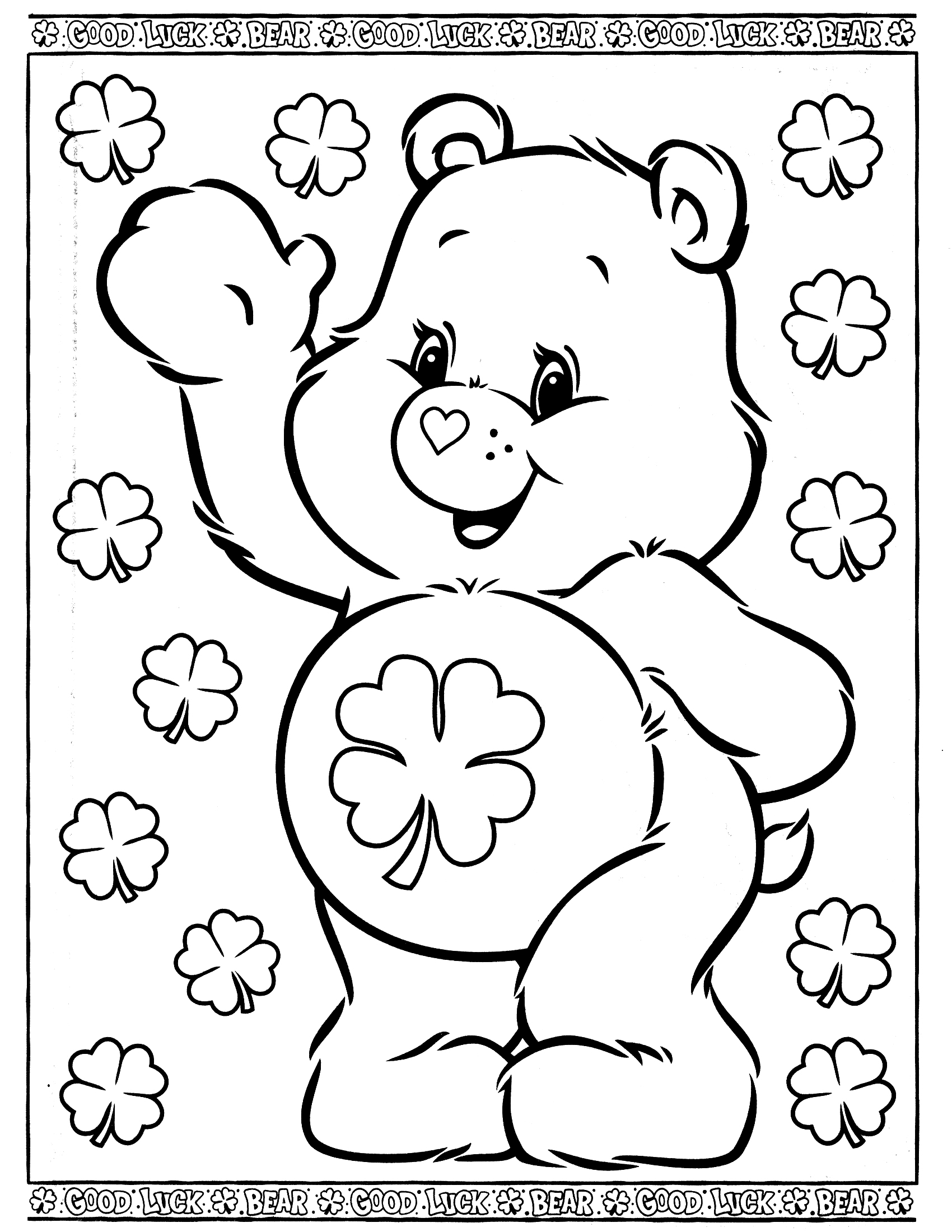 Good luck bear clipart black and white graphic free Good Luck Bear Coloring Pages graphic free
