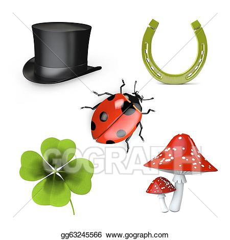 Good luck symbols clipart vector free download Stock Illustration - 3d collection of good luck symbols. Clipart ... vector free download