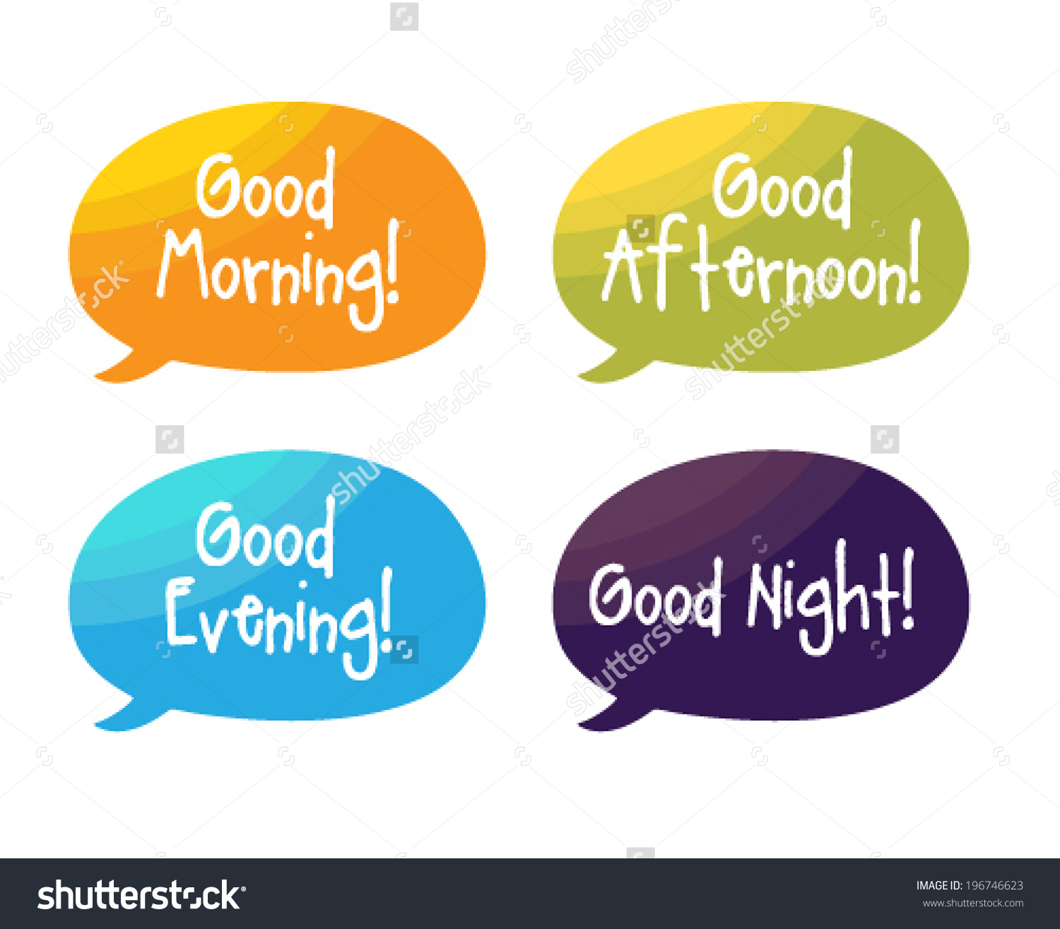 Good morning good afternoon good evening clipart picture transparent library Speech Bubbles Good Morning Good Afternoon Stock Vector 196746623 ... picture transparent library