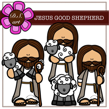Good shepherd clipart clip black and white stock JESUS GOOD SHEPHERD Digital Clipart (color and black&white) clip black and white stock