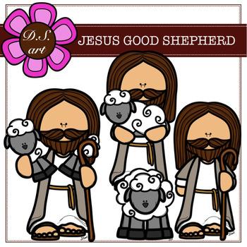 Jesus the good shepherd clipart images image black and white JESUS GOOD SHEPHERD Digital Clipart (color and black&white) image black and white