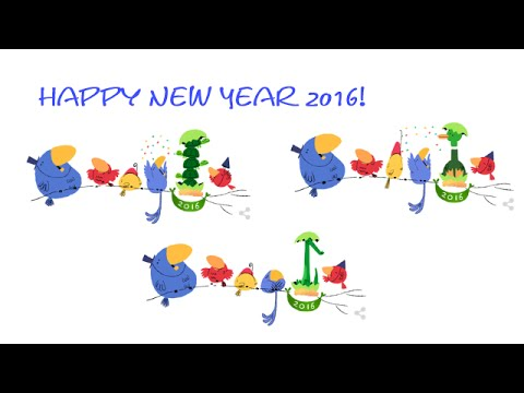 Google clipart happy new year black and white library New Year 2016 - Happy New Year 2016 Google Doodle black and white library