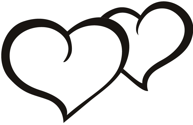 Two love hearts clipart vector black and white 57+ Two Hearts Clipart | ClipartLook vector black and white