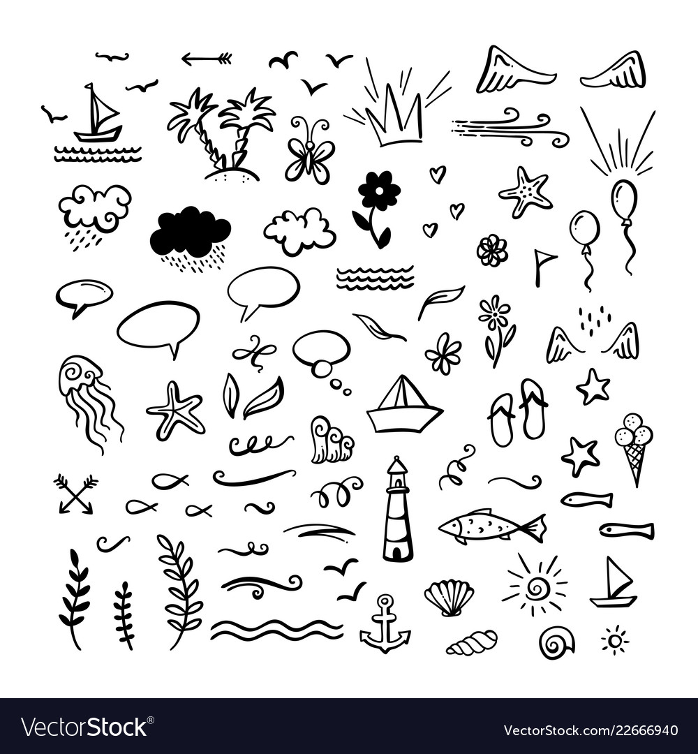Doodle clipart free png black and white Hand-drawn doodle clipart on sea ocean summer Vector Image png black and white