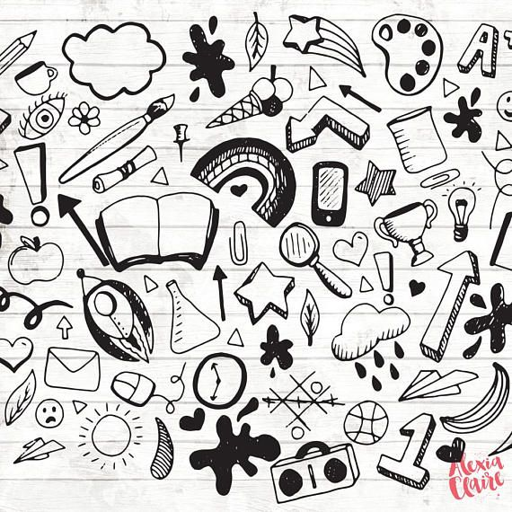 Hand drawn doodles clipart png royalty free download Back to School Clipart Hand Drawn Doodle Clipart Vector | Doodles ... png royalty free download