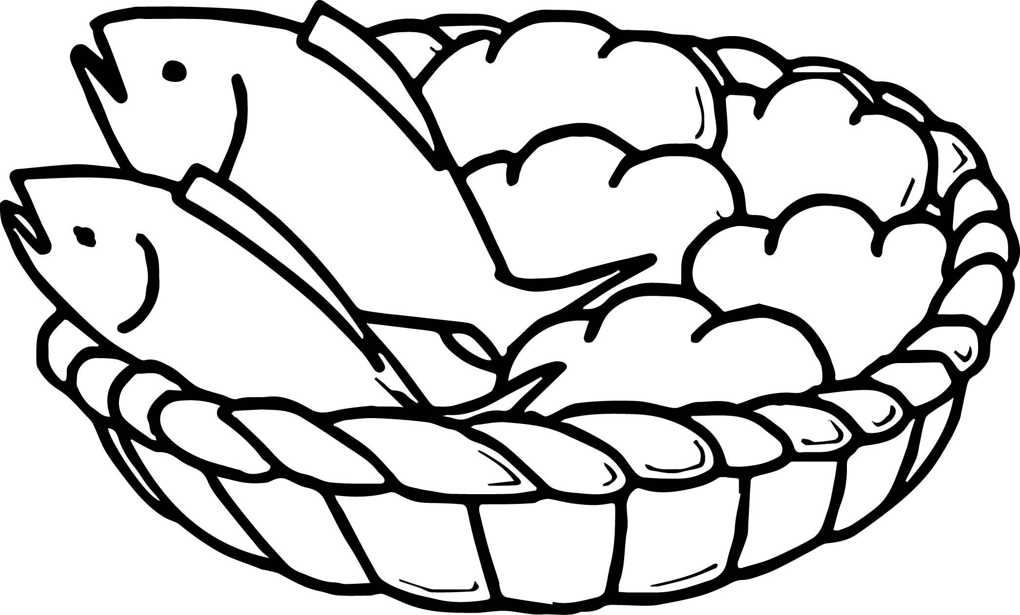 Google images free clipart loaves and fishes transparent download awesome 5 Loaves Bread And 2 Fish Coloring Page | loaves and fishes ... transparent download