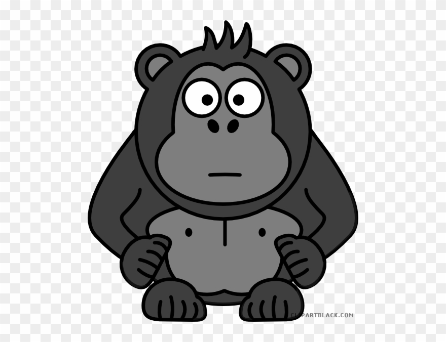 Clipart gorilla banner freeuse library Black And White Library Clipart Gorilla - Gorilla Clipart - Png ... banner freeuse library