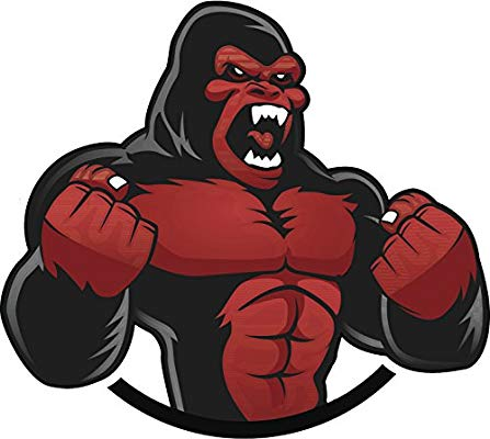 Gorillas pounding chest clipart black and white clip art free Angry Chest Pounding Red and Black Gorilla Cartoon Vinyl Decal Sticker (4\