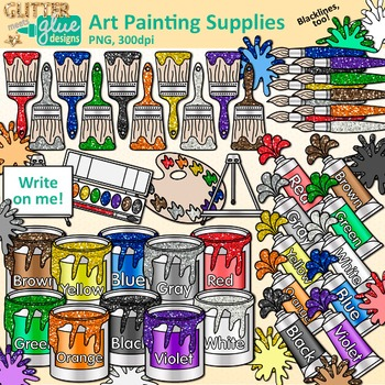 Got supplies for the art room clipart jpg royalty free stock Art Painting Supplies Clip Art {Color Theory, Paint Cans, Tubes ... jpg royalty free stock