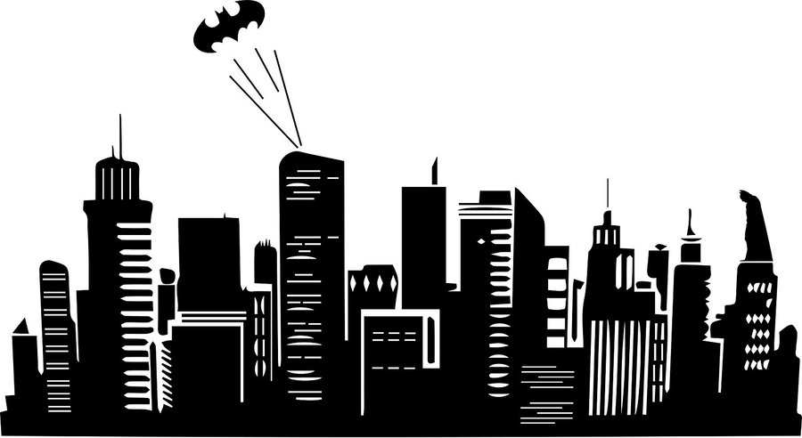 Gotham city clipart image freeuse Batman, Skyline, Drawing, Silhouette, Wallpaper, City, Font ... image freeuse