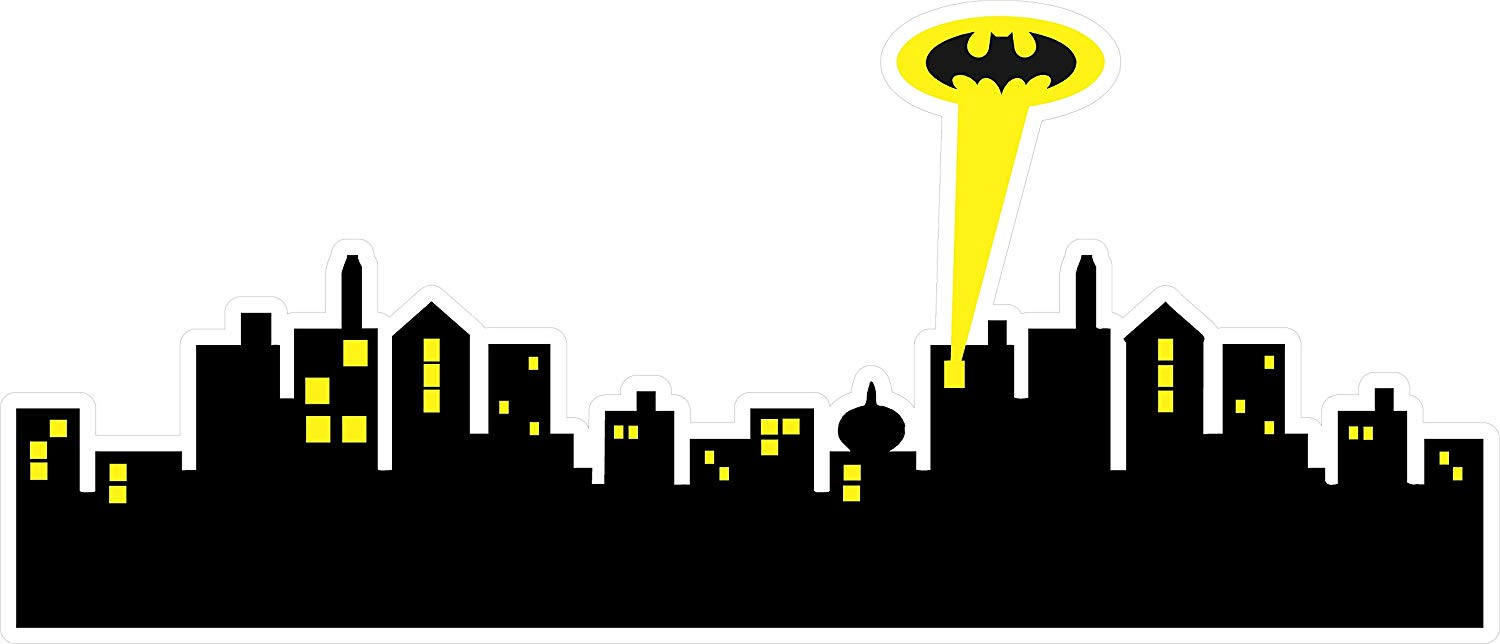 Gotham city clipart jpg free stock Amazon.com: Batman GOTHAM CITY SKYLINE Decal WALL STICKER Home Decor ... jpg free stock