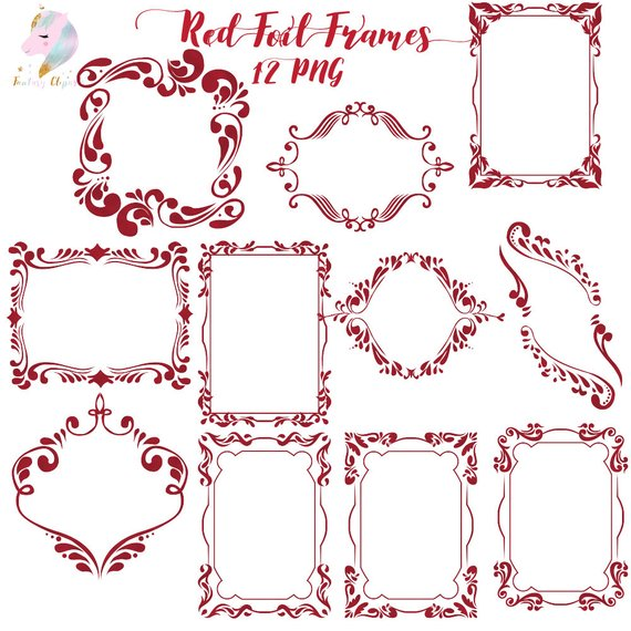 Gothic frames clipart vector Frames clipart, red foil frame, gothic clip art, halloween graphics ... vector