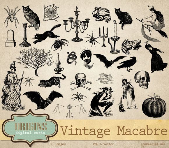 Gothic halloween clipart image royalty free Vintage Macabre Halloween Clipart by Origins Digital Curio on ... image royalty free