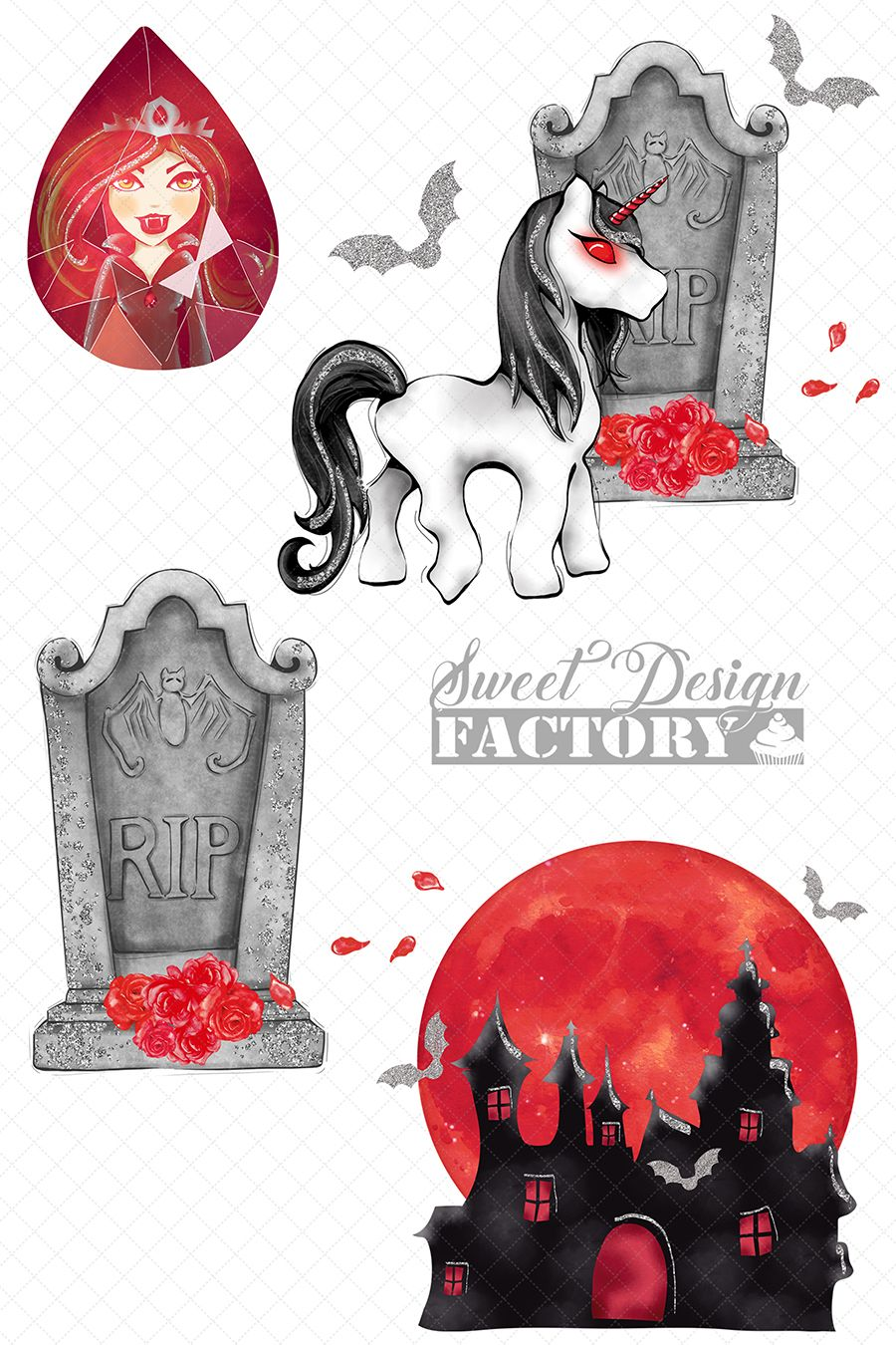 Gothic halloween clipart graphic library stock Vampire clipart/ halloween clipart/ unicorn gothic/ halloween ... graphic library stock