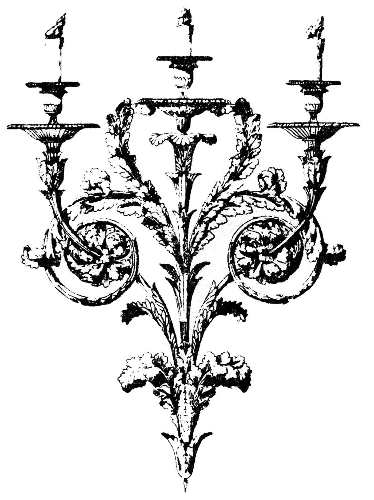 Gothic halloween clipart graphic royalty free library Vintage Clip Art - Gothic Baroque Candle Holders - The Graphics Fairy graphic royalty free library
