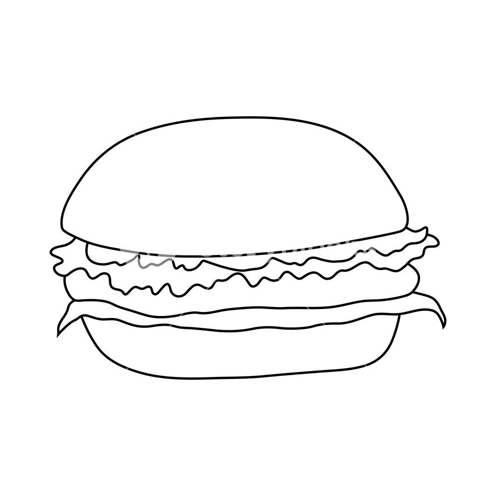 Gourmet burgers black and white high res clipart banner freeuse download Hamburger icon in outline style on a white background Royalty-Free ... banner freeuse download