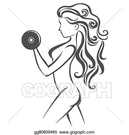 Goy clipart svg freeuse library EPS Vector - Sport/fitness label. hand drawn girl with dumbbells ... svg freeuse library