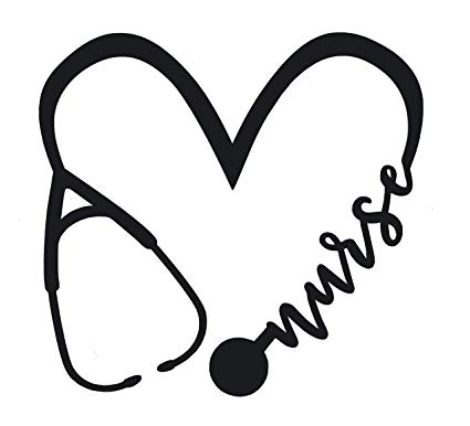 Gradation nursing cliparts black and whtie clip art black and white Amazon.com: WickedGoodz Die Cut Heart Nurse Stethoscope Decal ... clip art black and white