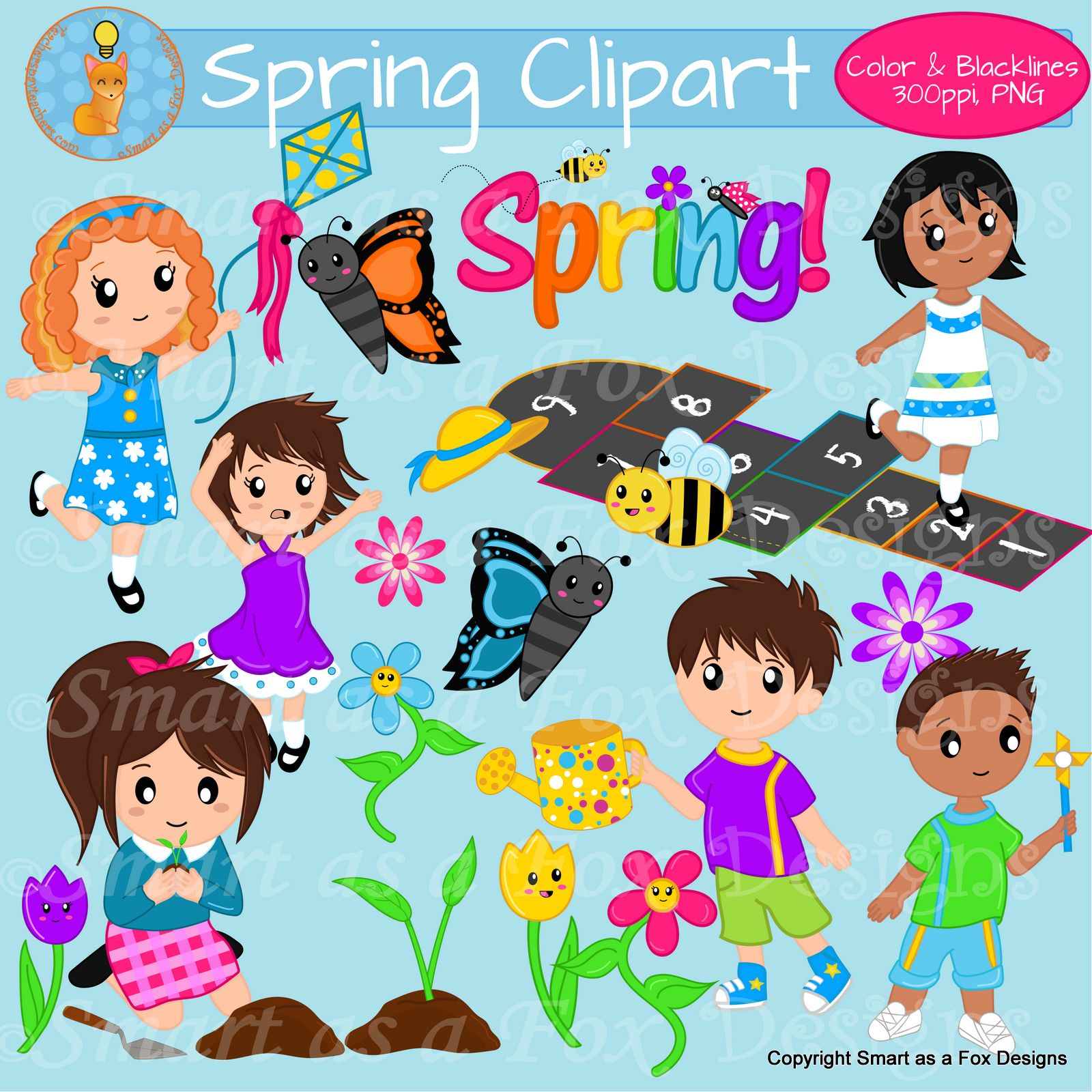 Grade school children clipart clip royalty free library Spring Activities Children Clipart | Clip Art on TpT | Spring ... clip royalty free library