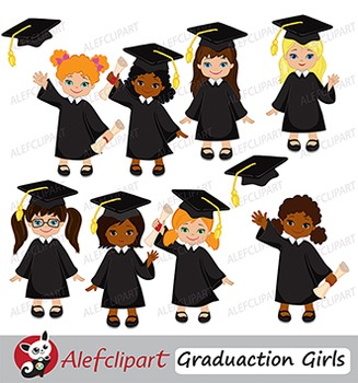 Graduates clipart clip art black and white library Graduation Clip Art Girls { Graduates clipart - color and blacklines  included! } clip art black and white library