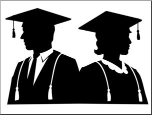 Graduates clipart vector transparent Clip Art: Graduates Silhouette 01 B&W I abcteach.com   abcteach vector transparent