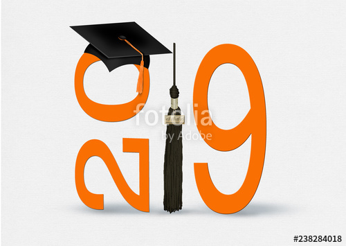 Graduating class of 2017 free clipart black background banner royalty free library graduation 2017 orange numbers and black cap and tassel with dipolma ... banner royalty free library