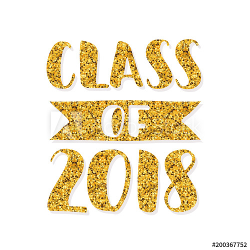 Graduation 2018 party clipart banner library stock Class of 2018. Hand drawn brush lettering Graduation logo. Template ... banner library stock
