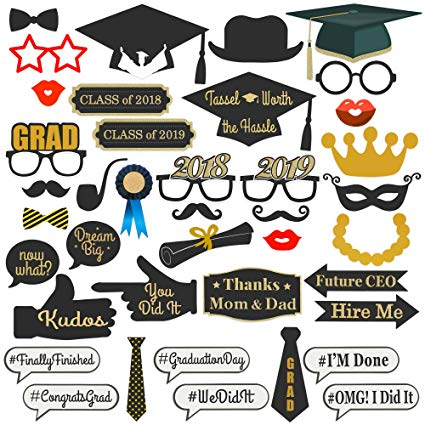 Graduation 2018 party clipart svg royalty free stock Best Choice Products 38-Piece Class of 2018/2019 Graduation Party Supplies  Photo Booth Decoration Prop Set - Multicolor svg royalty free stock