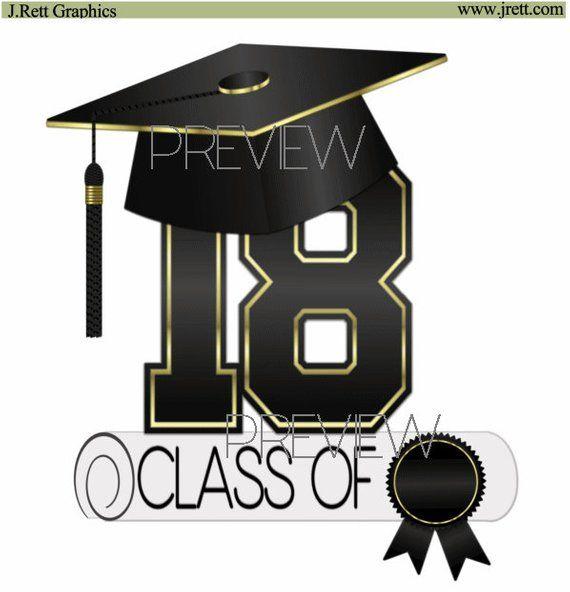 Graduation 2018 party clipart graphic freeuse Class of 2018 clip art, MORE COLORS, black, gold, graduation clipart ... graphic freeuse