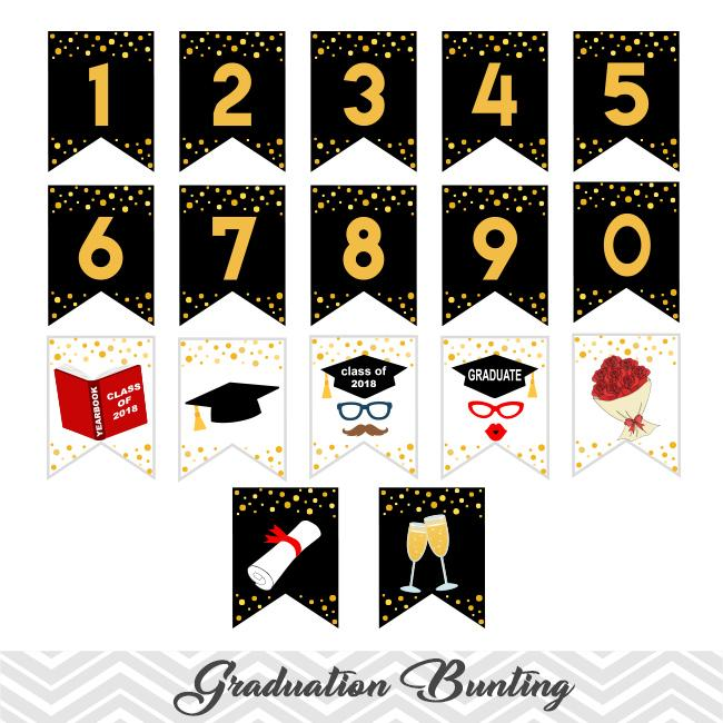Graduation 2018 party clipart clip library download Printable Graduation Bunting, Digital Class of 2018 Banner, 2018 Graduation  Party Bunting, Digital Grads Banner 0291 clip library download